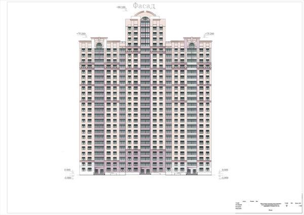 Многоэтажное монолитное многосекционное жилое здание переменной этажности